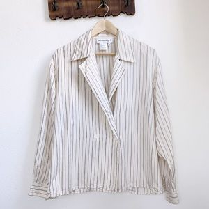 Vintage | Silk Pinstripe Double Breasted Blazer